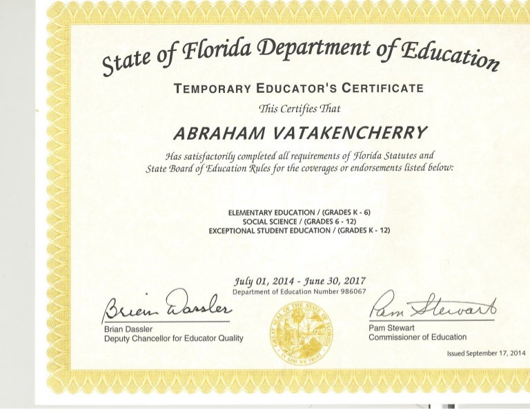FLDOE Temp Certificate