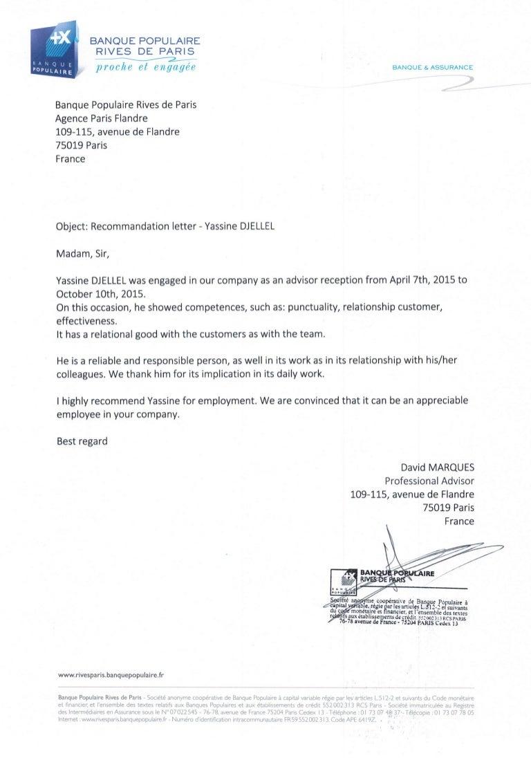 Recommendation Letter Banque Populaire Rives De Paris