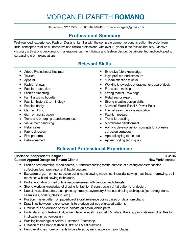 fashion design and merchandising resume 2016 pdf - Fashion Designer Resume Sample