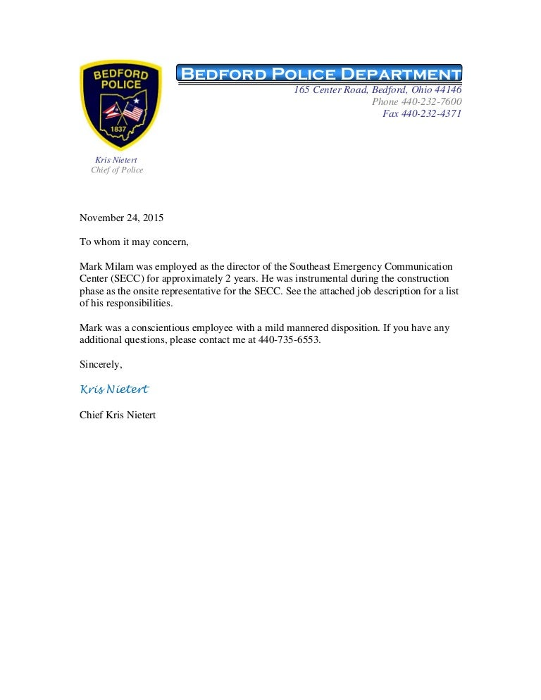 Mark Milam Reference Letter From Bedford Police Chief Kris Nietert