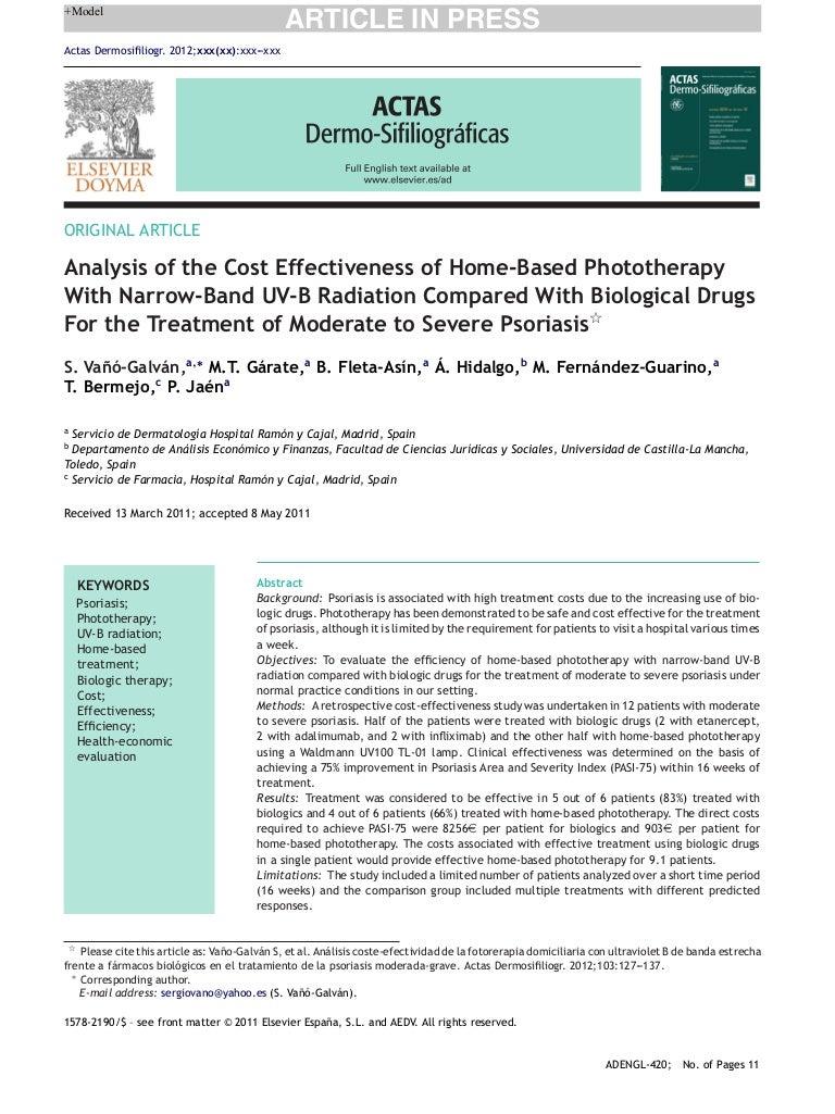Cost effectiveness of home phototherapy versus biologics