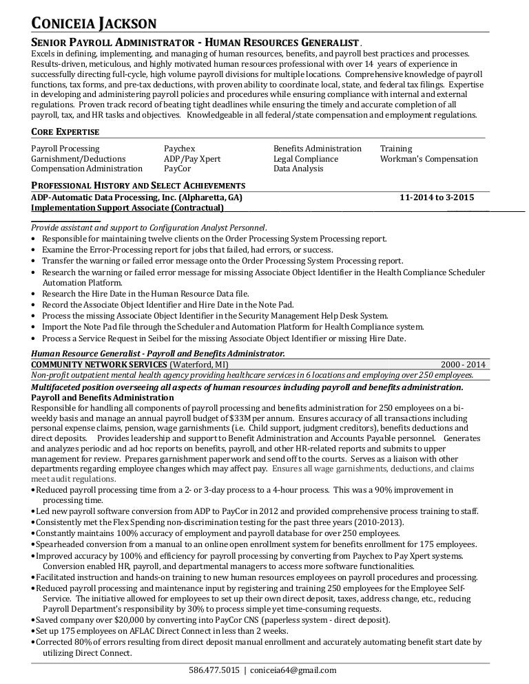 payroll resume hr revised - Payroll And Benefits Administrator Sample Resume