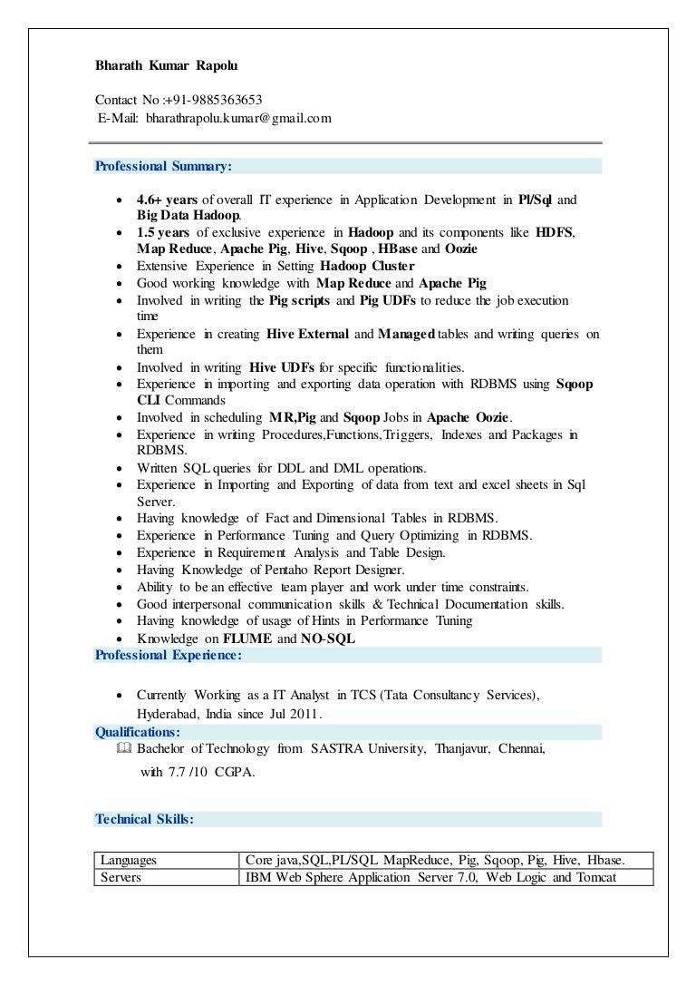 bharath hadoop resume