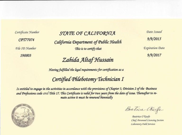 State Phlebotomy License