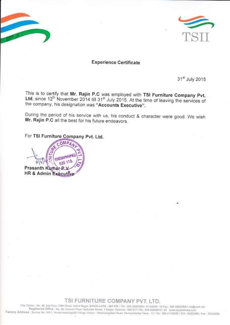 Tsi Experience Certificate