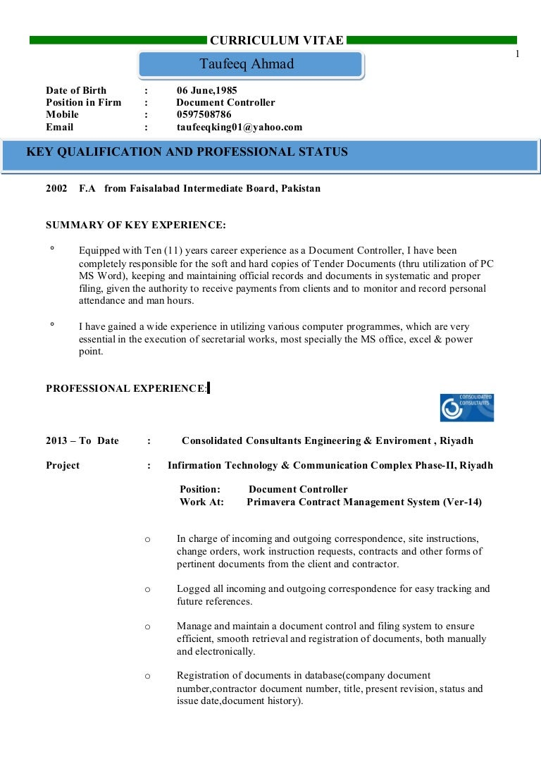 cv document controller tufeeq ahmed