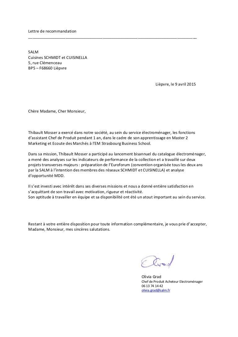 Lettre De Recommandation Thibault Mosser 09 04 15