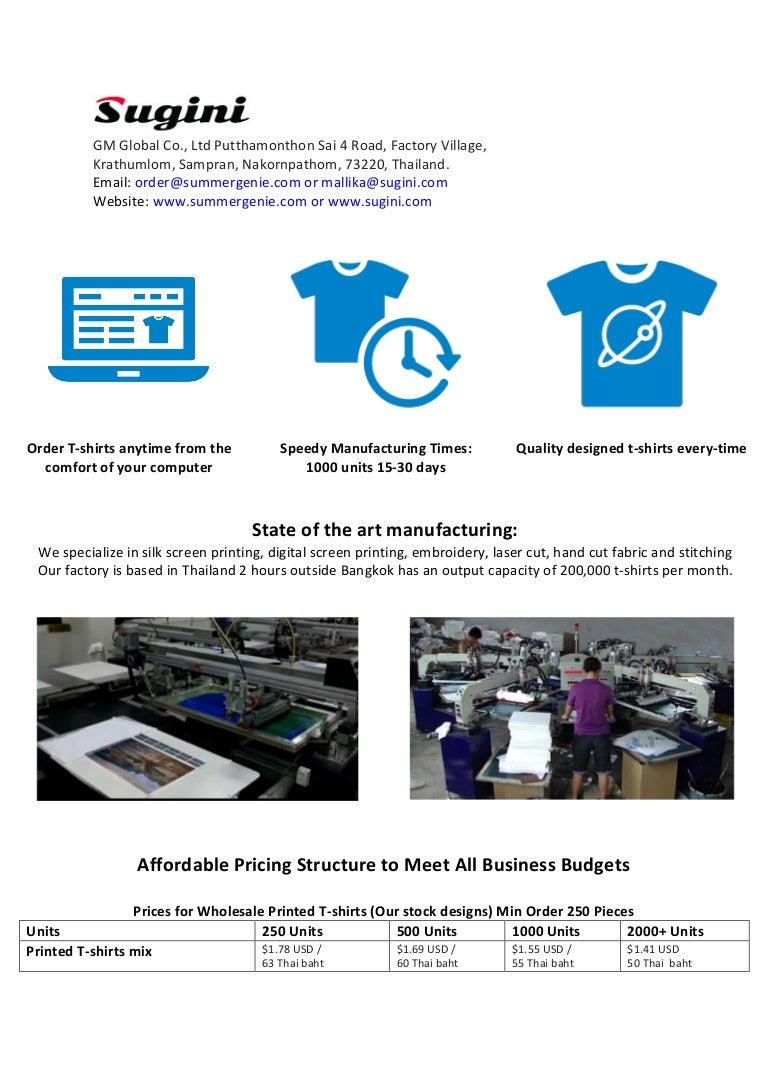 Sugini T Shirt Wholesale Manufacturing