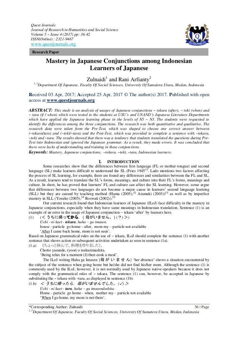 Mastery in Japanese Conjunctions among Indonesian Learners
