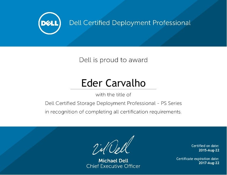 Dell Certified Storage Deployment Professional Ps Series Certificate