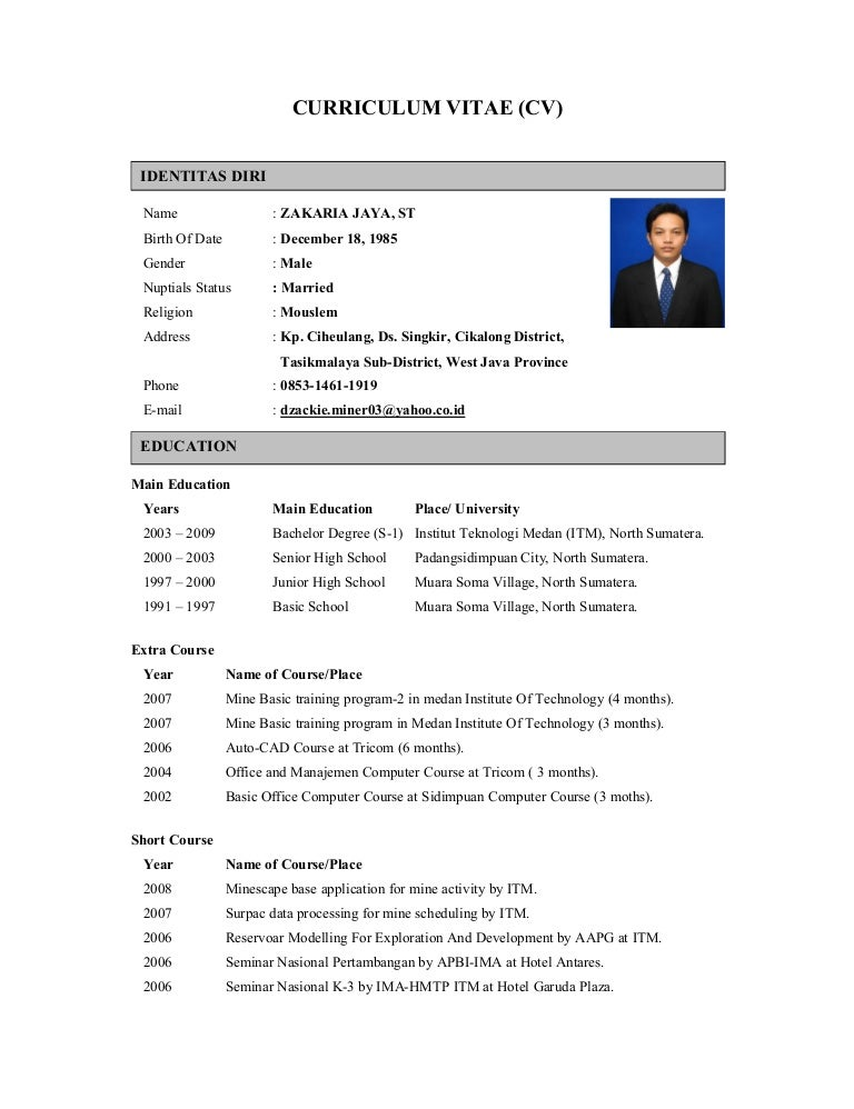 cv zakaria jaya  english version