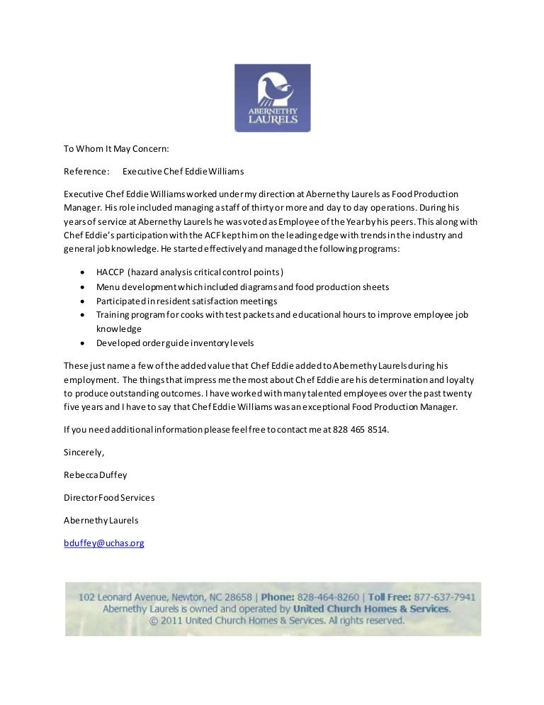 chef reference letters
