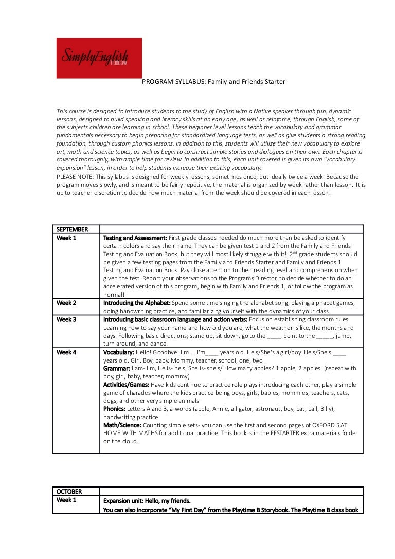 worksheet Family And Friends 1 Worksheets program syllabus family and friends starter