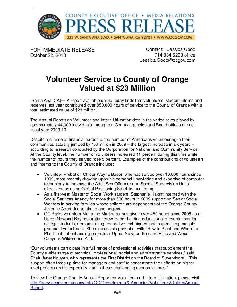 10 22 10 press release volunteer service to county valued at 23