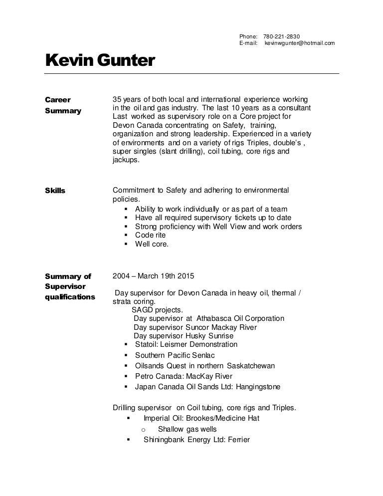 Resume Kevin Gunter