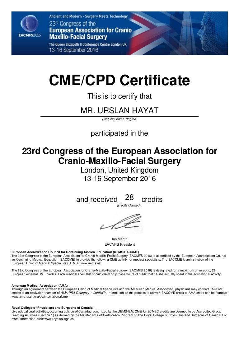 Cme cpd certificate eacmfs 2016 xflitez Gallery