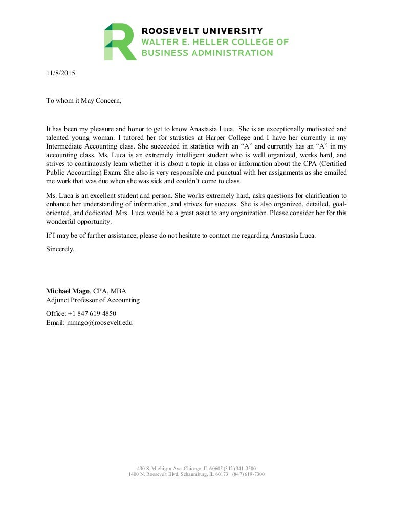 Roosevelt University Email >> Anastasia Luca Letter Of Recommendation