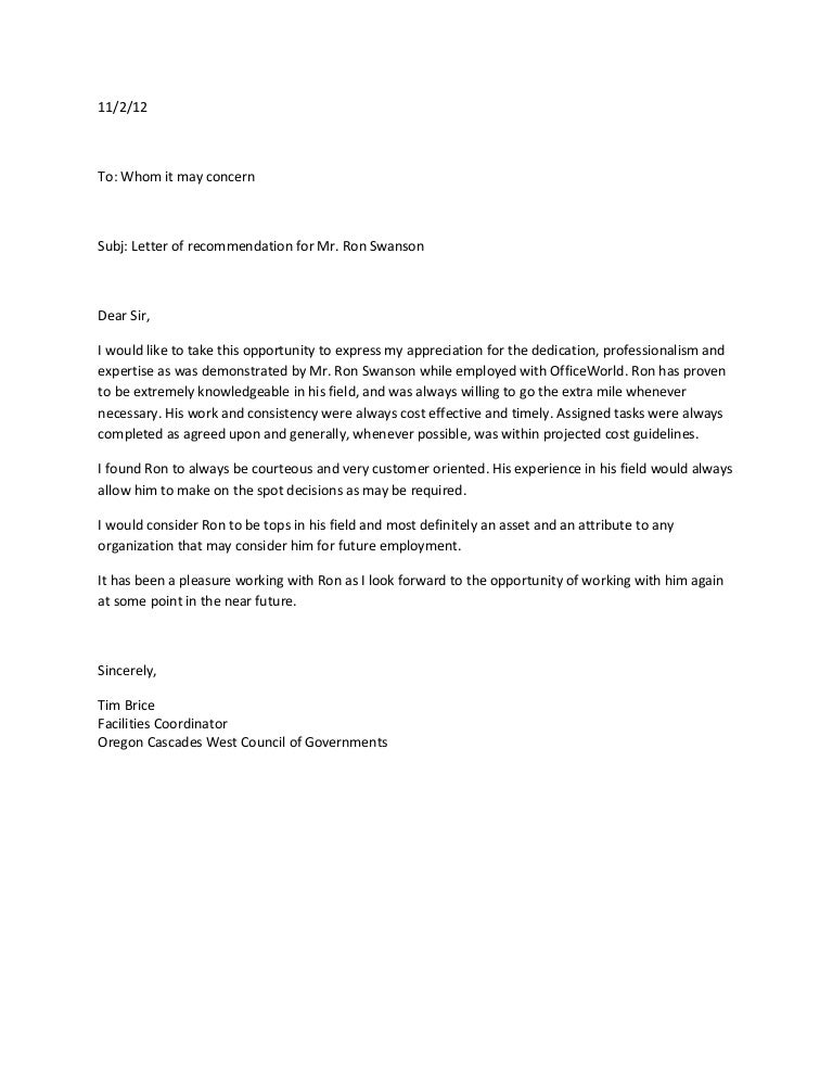 free sample personal letter of recommendation for employment