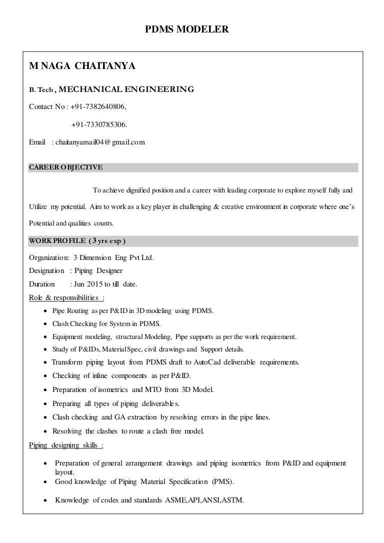 Mr Naga Chaitanya Resume Piping Layout Engineer Job Description