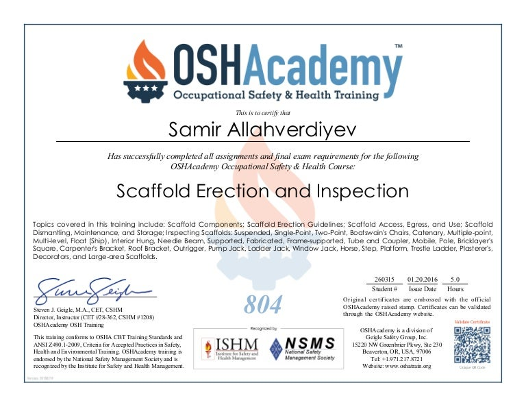 oshacademy course scaffold erection and inspection