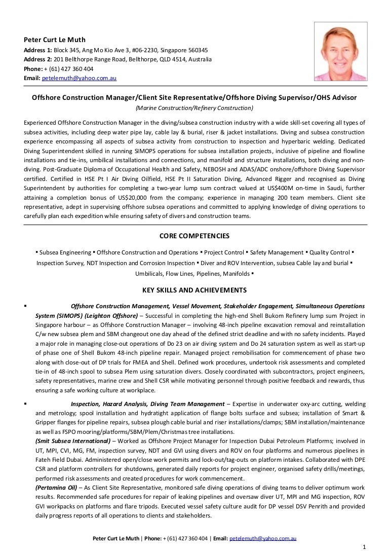 Perfect Subsea Engineering Resume Gallery - Administrative Officer ...