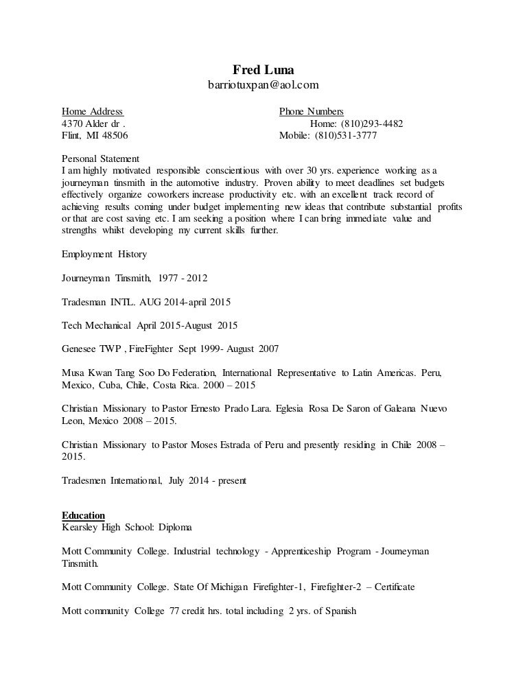 Fred Luna Resume Update 2016 Addition Including Personal Statement 1