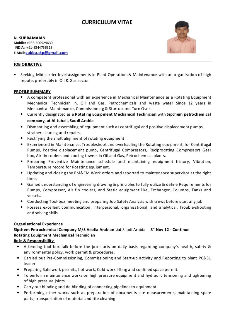 it technician cv