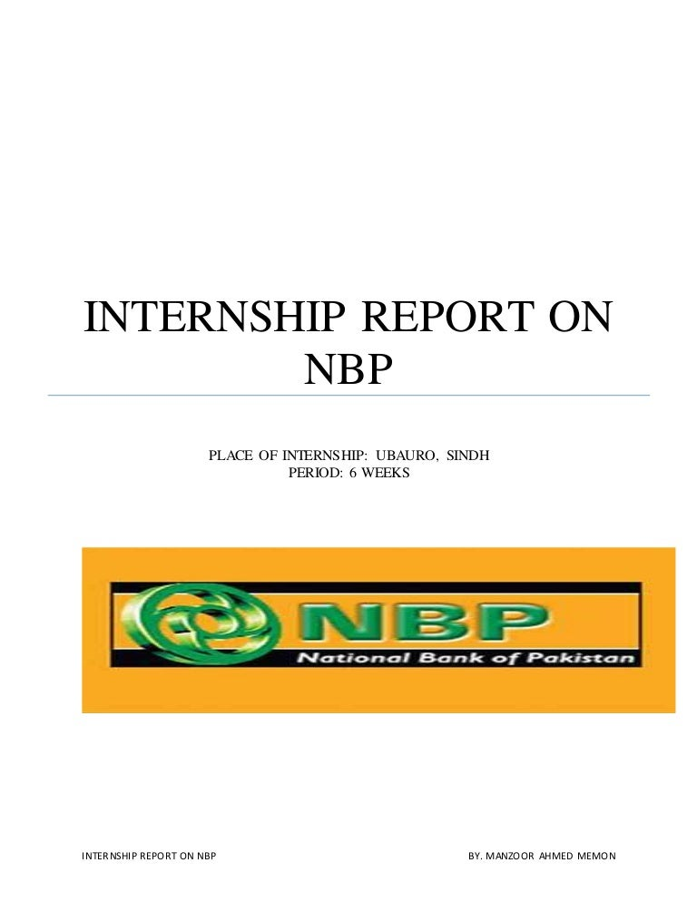 internship report on national bank of pakistan free download