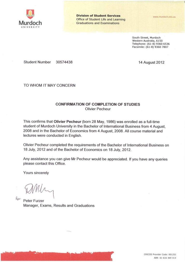 completion letter for economics degree and international business deg