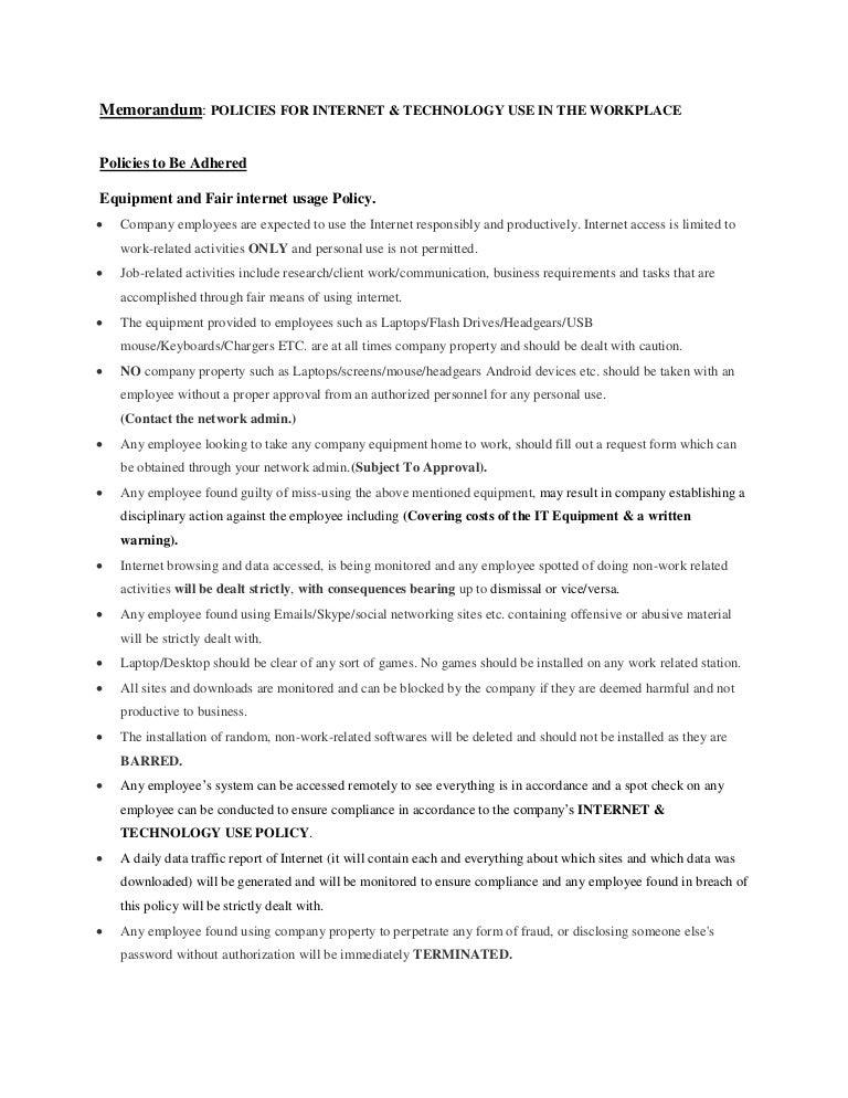 Memorandum POLICIES FOR INTERNET & TECHNOLOGY USE IN ...