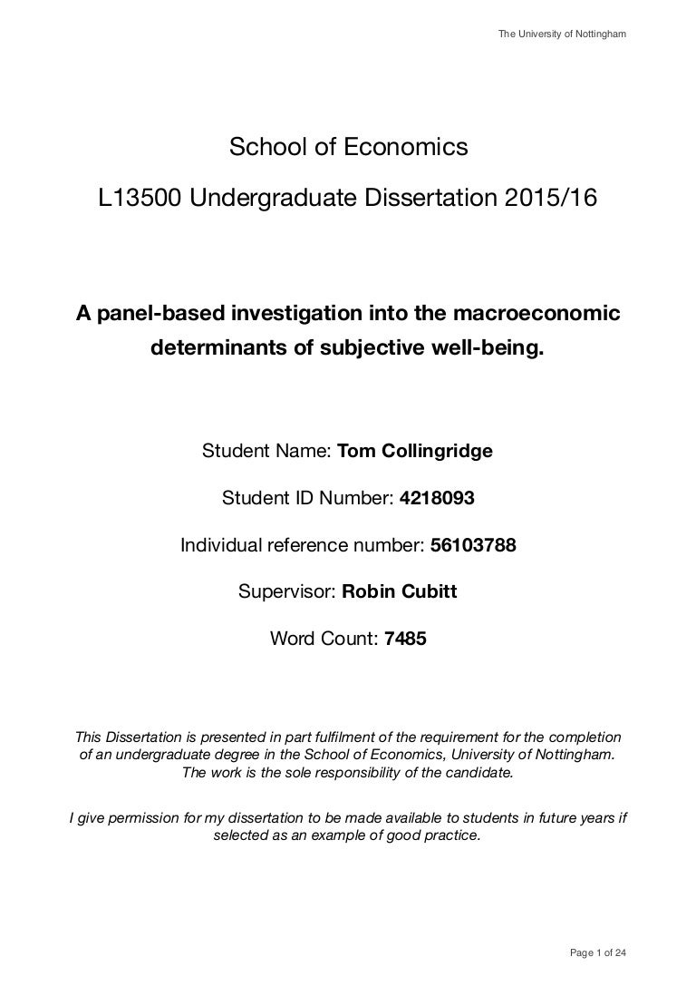 Ian Crawford - Dissertation - Subjective Well-Being