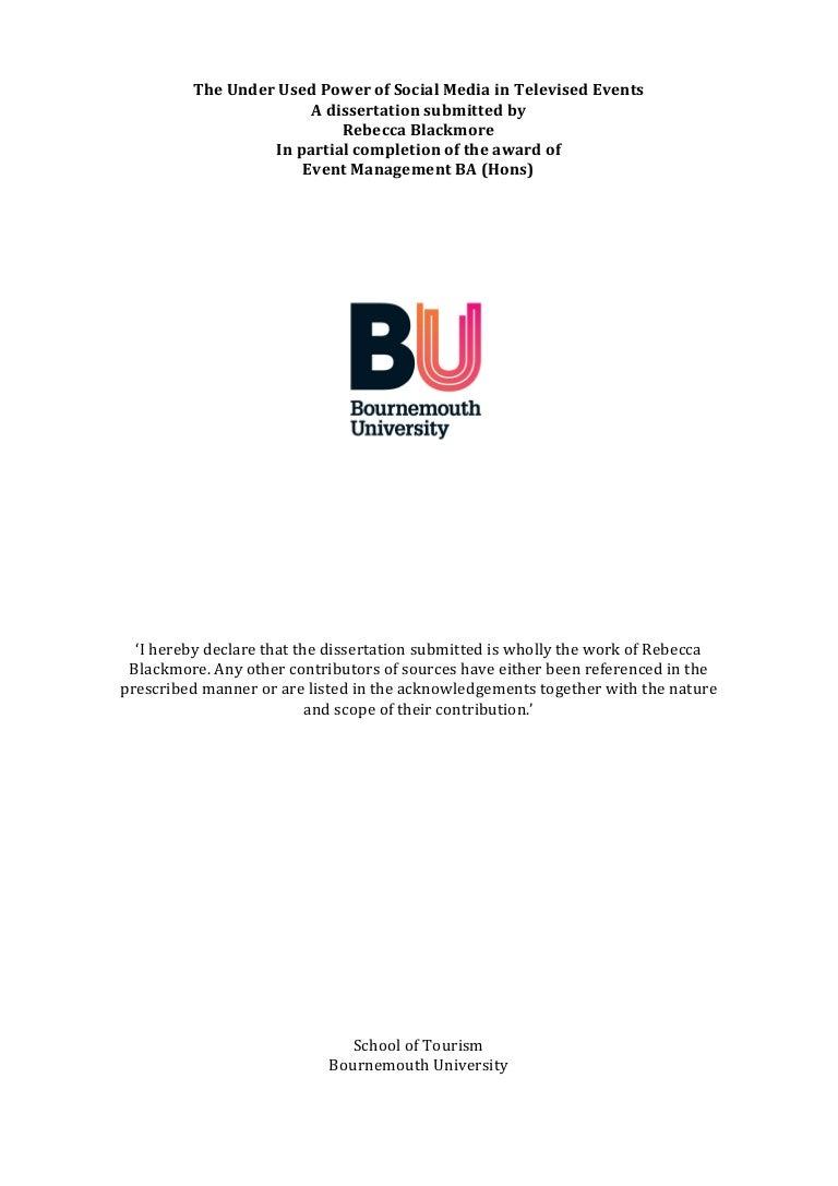 Bournemouth University Dissertation Proposal lieu