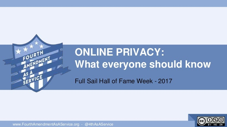 Online Privacy - What everyone should know - Full Sail Hall