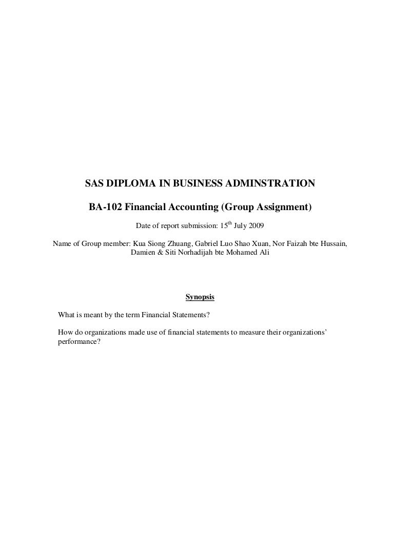 financial account group assignment on financial statement of golden a