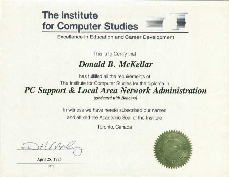 Pc Support Specialist And Local Area Network Administrator Diploma Pl