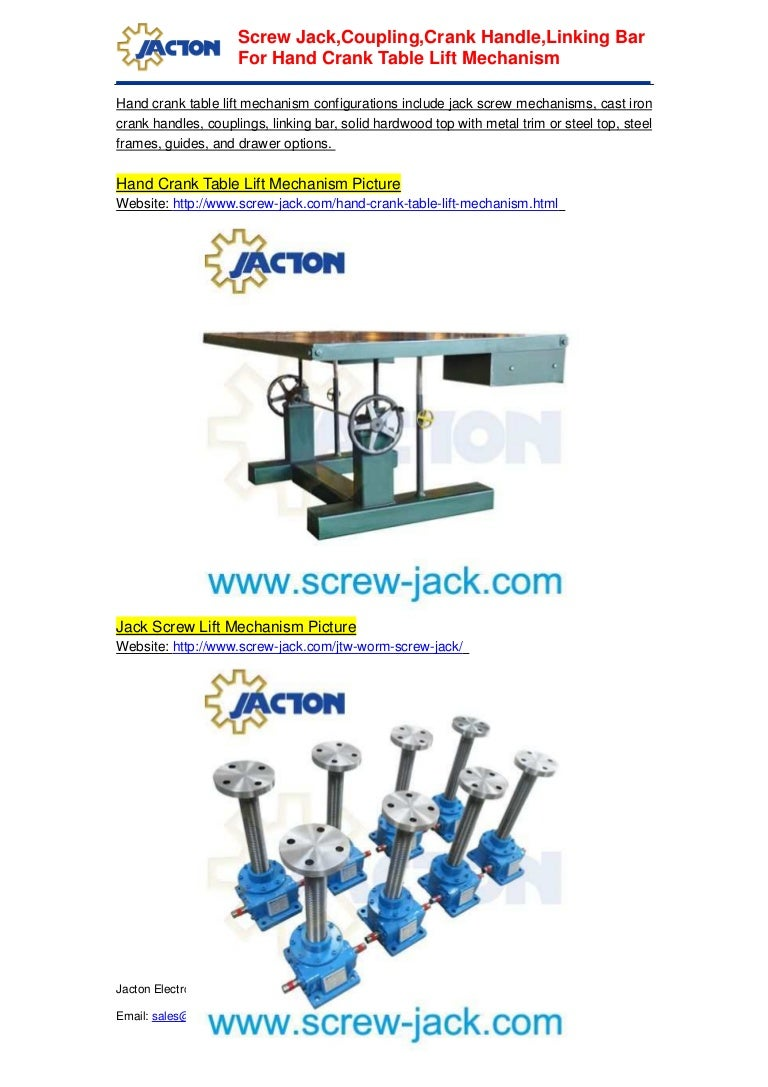Fabrication hand crank table hand jack screw, building crank