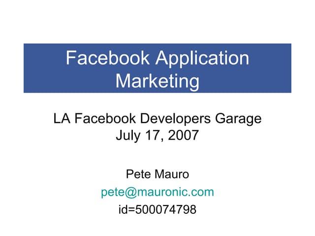 Facebook Application Marketing