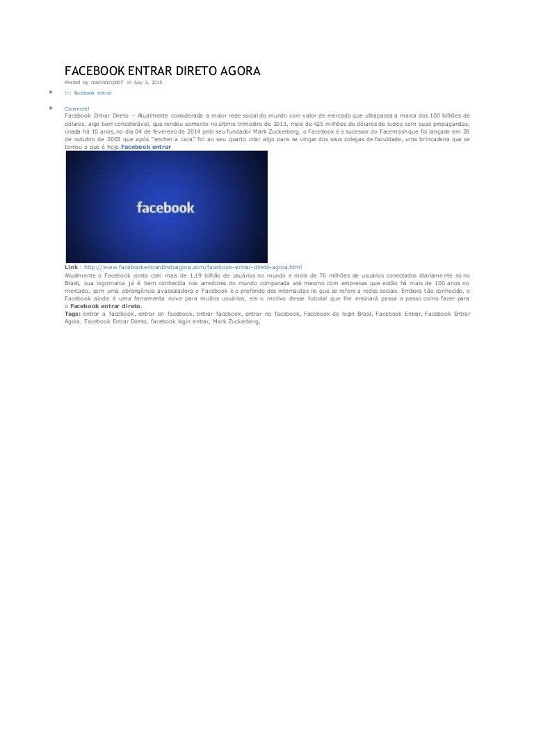 Facebook entrar agora