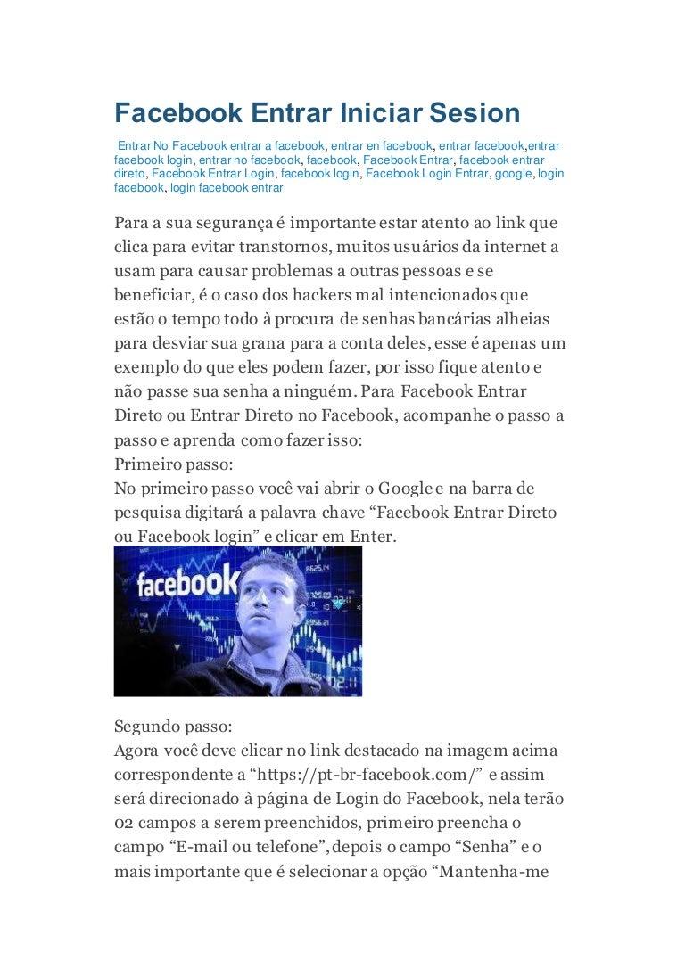 Entrar agora facebook Entrar Facebook