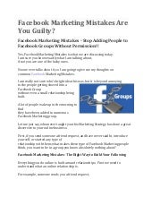 Facebook Marketing Mistakes Are You Guilty