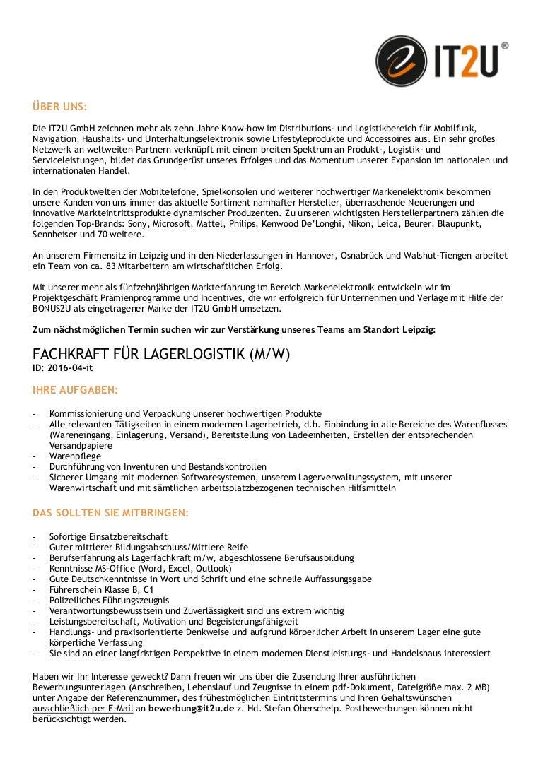 karriere bei der it2u gmbh jetzt starten fachkraft lagerlogistik m - Fachkraft Fur Lagerlogistik Bewerbung