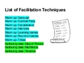 Facilitation cards