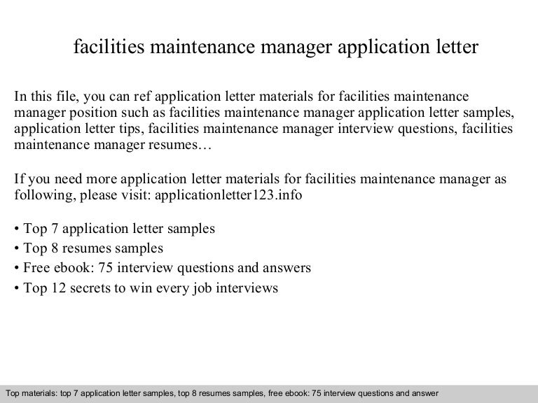 Facilities maintenance manager application letter