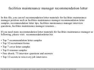 Maintenance Manager, | LinkedIn