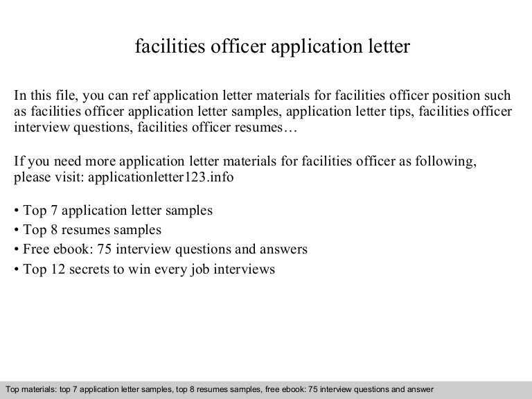 facilities officer application letter