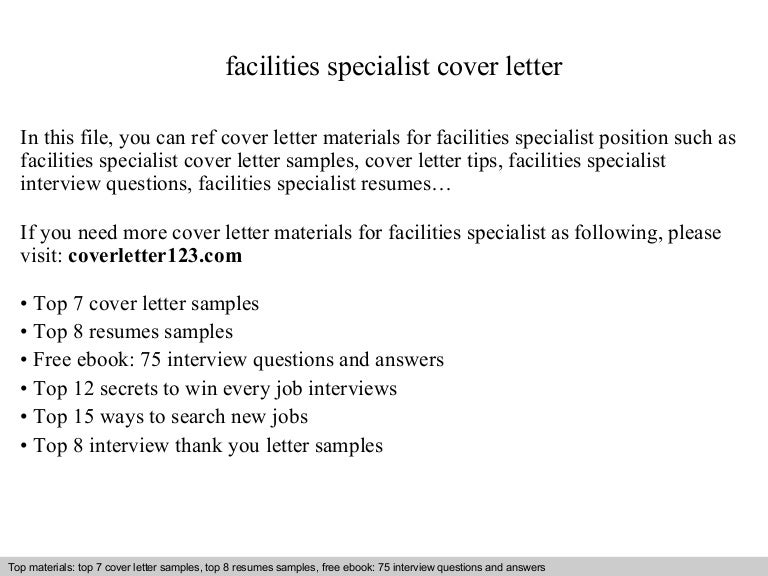 Facilities specialist cover letter