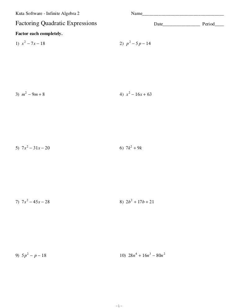 Quadratic Factoring Worksheet 2 Answers llamadirectory – Algebra 2 Printable Worksheets