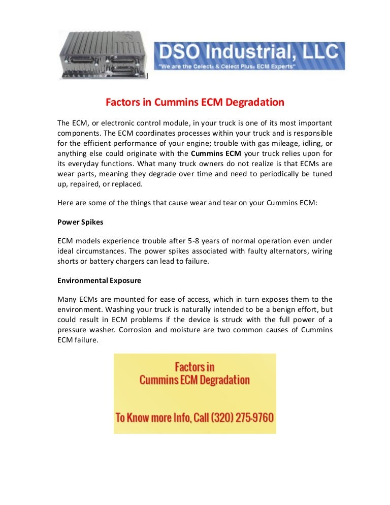 Factors in Cummins ECM Degradation
