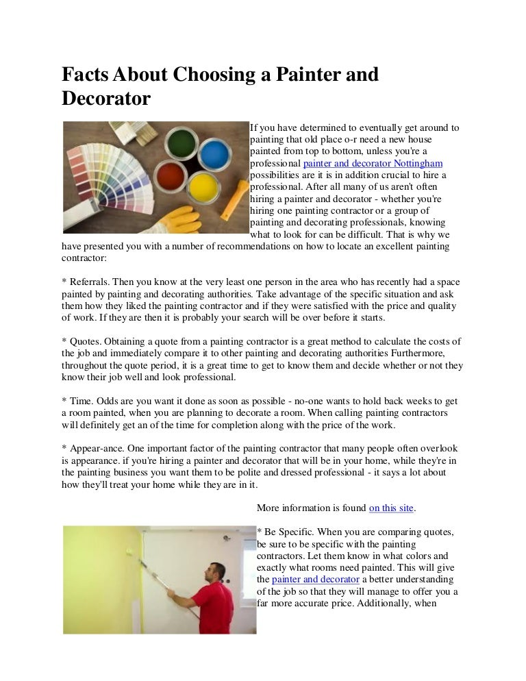 Painter And Decorator Prices >> Facts About Choosing A Painter And Decorator