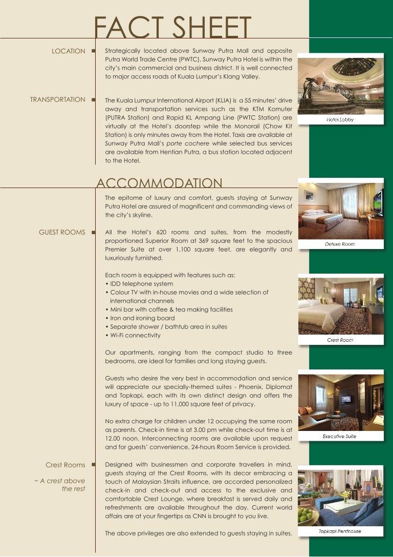 Sunway Putra Hotel Accommodation Fact Sheet